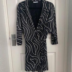 Zara Glitter Wrap Dress Black Silver White Party S